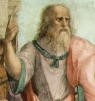 "Plato points upward in Raphael's fresco, ""The School of Athens."" Plato was a Platonic ""moral realist."" He believed that a ""Form of The Good"" resided in extra-mental reality."