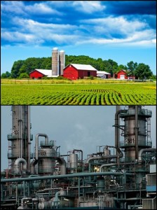 A farm and a factory: examples of property that requires effort to build.