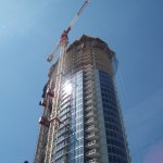 A skyscraper under construction. View from below.