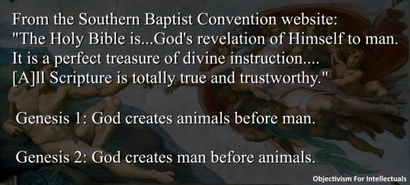 Biblical inerrancy - In the Bible, order of creation is different between Genesis 1 and Genesis 2. God creates animals before man in 1 and man before animals in 2.