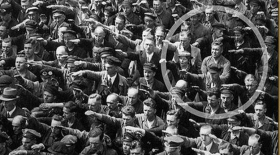 German man refusing Nazi salute