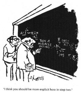 """Then a Miracle Occurs"" cartoon - ""I think you should be more explicit here in step two."" Science vs Religion"