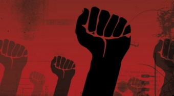 Socialism-raised fists-black on red background