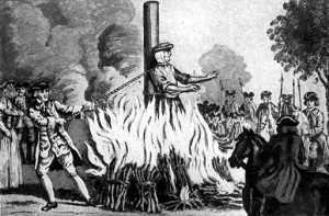 Woman being burned at the stake