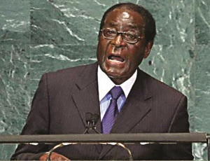 Robert Mugabe, the dictatorial, Marxist ruler of Zimbabwe for 37 years (1980-2017). Speaking at the UN.